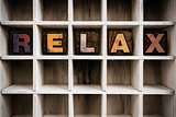 Relax Concept Wooden Letterpress Type in Drawer