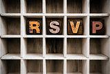 RSVP Concept Wooden Letterpress Type in Drawer