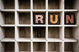 Run Concept Wooden Letterpress Type in Drawer