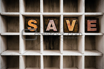 Save Concept Wooden Letterpress Type in Drawer