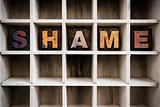 Shame Concept Wooden Letterpress Type in Drawer