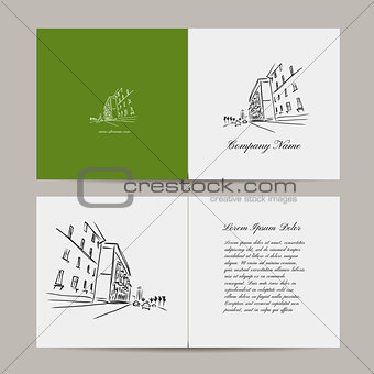 Greeting card, cityscape design