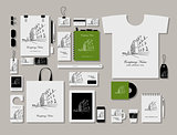 Corporate flat mock-up template, cityscape design