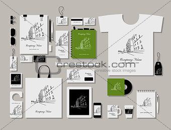 Corporate flat mock-up template, cityscape design