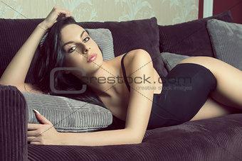 beautiful female on sofa