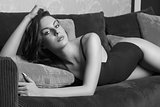 desaturate beautiful female on sofa