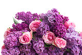 Lilac flowers with roses