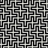 Vector Seamless Black  White Square Maze Grid Pattern