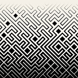 Vector Seamless Black  White Square Maze Lines Halftone Pattern