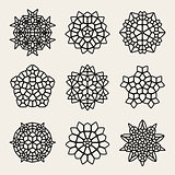 Vector Black And White Mandala Lace Ornaments