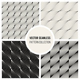 Vector Seamless BW Square Lines Geometric Pattern