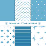 Set of sea and nautical backgrounds in blue and white colors.