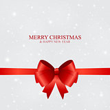 Abstract Beauty Christmas and New Year Background with Snow, Snowflakes, Red Bow and Ribbon. Vector Illustration