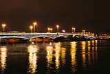 Palace Bridge in St. Petersburg Russia at night.