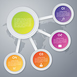Vector illustration, infographics, paper circles with shadows