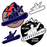 set badges for extreme sports snowboarding