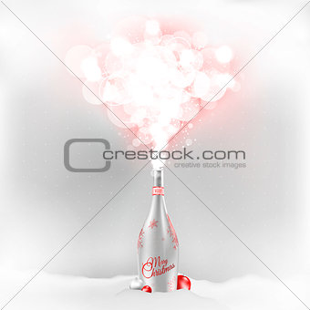 Christmas champagne bottle with a red magic glow