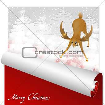 Christmas card with sweet deer looking at the magic glow in the snowy forest background.
