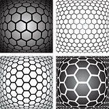 Hexagons patterns. Design elements set.