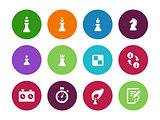 Chess figures circle icons on white background.