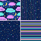 Good Night seamless pattern set. Seamless vector backgrounds with colorful stars and stripes