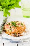 Chicken Breast Sauteed in Creamy Mushroom Sauce over Rice