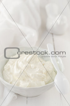 Greek Yoghurt in a White Bowl