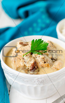 A Bowl of Chicken, Mushroom and Sour Cream Stew