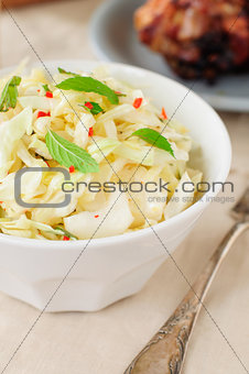 Fresh Cabbage, Mint and Chili Salad, copy space for your text