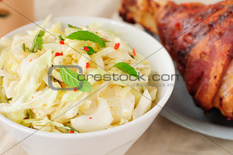 Fresh Cabbage, Mint and Chili Salad