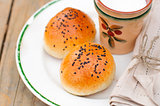 Bread Rolls with Black Sesame Seeds and a Cup of Milk
