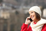 Girl talking on the phone in winter