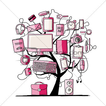 Art tree with digital office devices. Sketch for your design