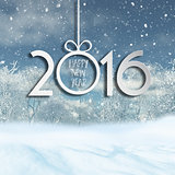 Happy New Year background with 3D snowy landscape