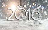 Happy New Year background with a snowy landscape