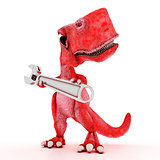 Friendly Cartoon Dinosaur with wrench