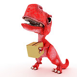 Friendly Cartoon Dinosaur with cardboard box