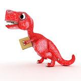 Friendly Cartoon Dinosaur with cardboard box