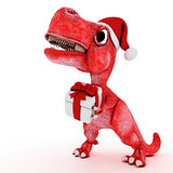 Friendly Cartoon Dinosaur with gift christmas box