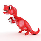 Friendly Cartoon Dinosaur with gift box