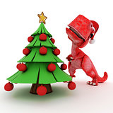 Friendly Cartoon Dinosaur with gift christmas tree