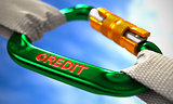 Credit on Green Carabiner between White Ropes.