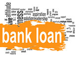 Bank loan word cloud with orange banner