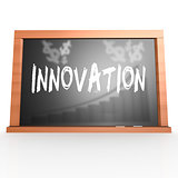 Black board with innovation word