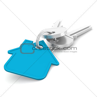 Blue house key