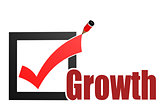 Check mark with growth word