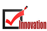 Check mark with innovation word
