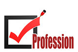 Check mark with profession word