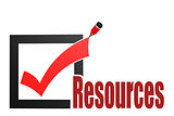 Check mark with resources word