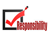 Check mark with responsibility word